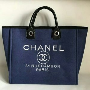 Chanel Tote Canvas Silver Chain bag